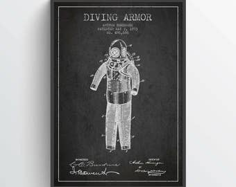 1893 Diving Armor Patent Poster, Diving Suit print, Diving Suit Poster, Patent Art Print, Patent Print, Home Decor, Gift Idea, NA31P