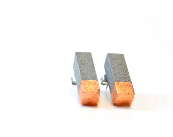 Concrete and copper earrings studs / Architectural Earrings / Stud Earrings / Concrete Jewelry / Minimalist earrings