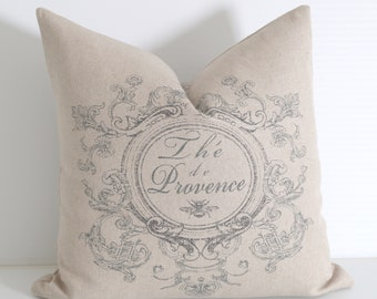 Bee Pillow Cover / Grey beige Linen pillow cover / French linen pillow / Crest Cushion Cover / Provencial Decor -GL1