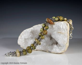 Rainforest Jasper and Sterling Silver  Bracelet