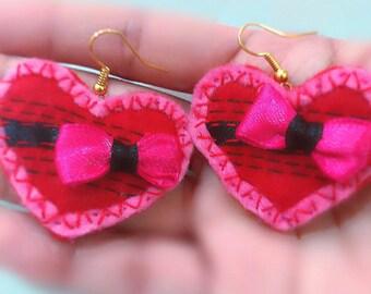 Earrings set,Handmade jewelry,Red heart earrings,Love earrings,Gift for her,Teen gift,Bow earrings,Pink earrings,Unique gift,Heart,