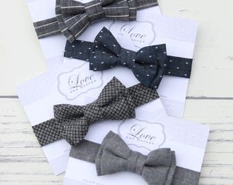 Chambray Bow Tie, Chambray Bowtie, grey bowtie, baby, child & adult bow tie