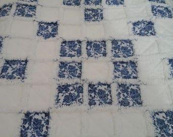 Dark Blue & White Rag Lap Quilt
