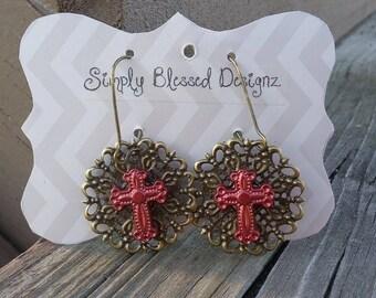 Cross Earrings / Faith Earrings / Christian Jewelry / Cross Jewelry
