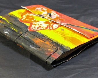 Hand Painted and Hand Sewn Journal, Diary, Art Journal.