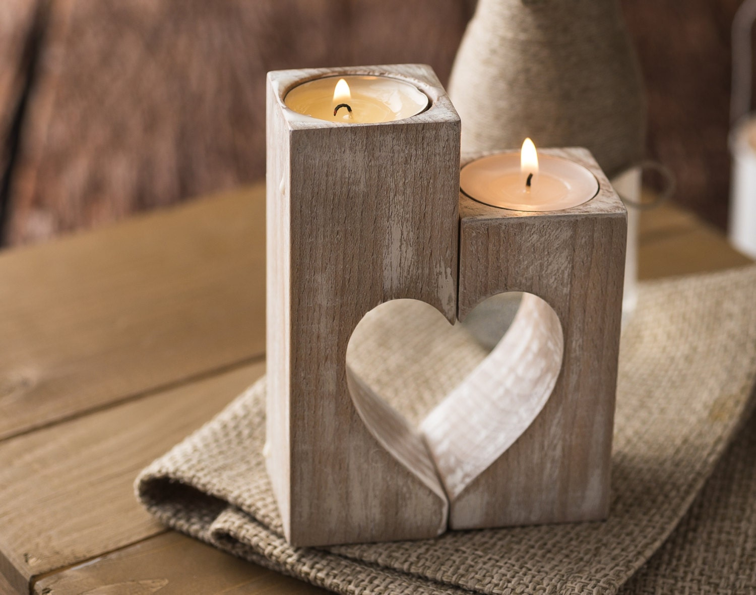 Wooden candle holders rustic candle holder wood hearts mothers for Home decorations gifts