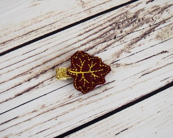 Handcrafted Burgundy and Golden Yellow Maple Leaf Feltie Clip - Autumn Feltie Clip - Fall Hair Clip - Baby Girl Bows - Burgundy Baby Girl