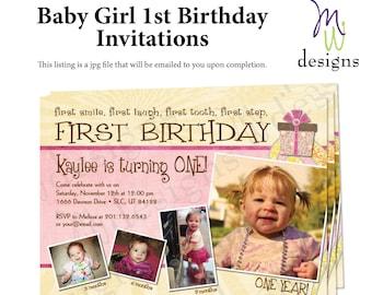 Baby's 1st Birthday Invitation - 5x7 printable