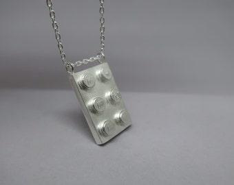 925 Sterling Silver Lego pendant - Silver Lego pendant - Sterling silver lego brick necklace - Lego brick - Lego pendant