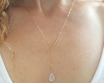 Gold Moonstone Necklace, Moonstone Y Necklace, Gold Drop Necklace, Asymmetrical Necklace