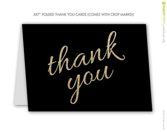 Thank You Cards Black with Gold Glitter Sparkle Letters / Instant Digital Download