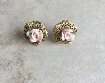 Vintage Pink Rose Porcelain Stud Earrings