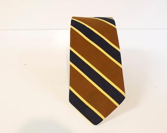 Vintage Men's Necktie - 1960s Jos A Bank Diplomat Necktie - brown blue yellow