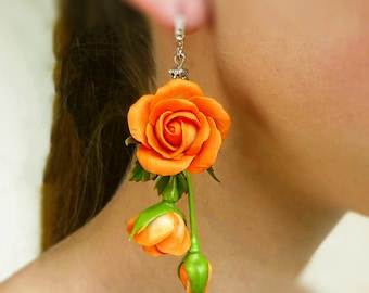 Orange earrings Long earrings Flower earrings Red jewelry Rose earrings Floral earrings Сute clay jewelry Unusual jewelry Birthday gift