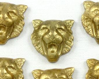 3 brass LION jewelry embellishments . 13mm x 14mm (ST12nr).
