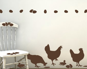 Chicken Wall Decals - Kitchen Wall Decals, Farm Life Series, Farm Animal Decals, Barnyard Animals, Country Decor (0173a30v)