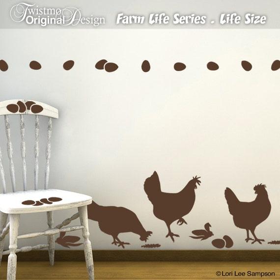 Huhn Wand Aufkleber Wandtattoo Küche Bauernhof leben Serie
