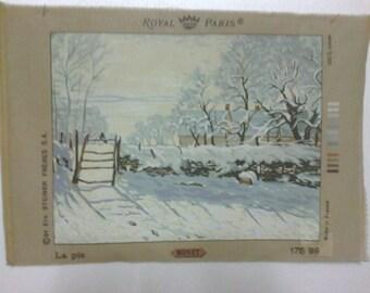 """Canvas embroidery,"" snowy landscape - magpie "", 45 x 65cm"""