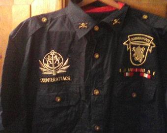 Men's Black Mock Military Short Sleeve Shirt Size 2XL