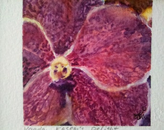 """Watercolor Vanda Orchid """"Kasem's Delight"""" in 3x5 gold toned frame with rosettes"""