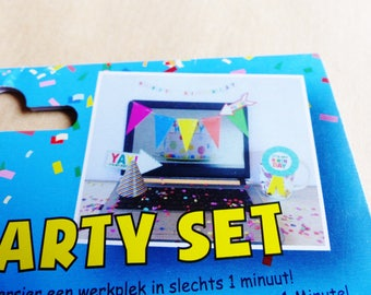 desktop computer minute decoration kit set party office party birthday confetti Garland coworker birthday flag Hat