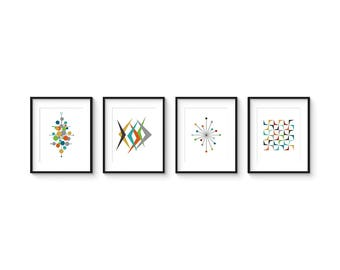 Collection of (4) Giclee Prints - 8x10 Format - Mid Century Modern