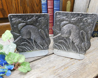 Beautiful Vintage Metzke Pewter Bookends - Rabbits Playing in the Grass