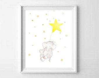 Star Nursery Wall Art,Elephant Nursery Art,Star Nursery decor,Elephant decor,Star Elephant Children Art,Elephant Baby Art,Star Baby Kids Art