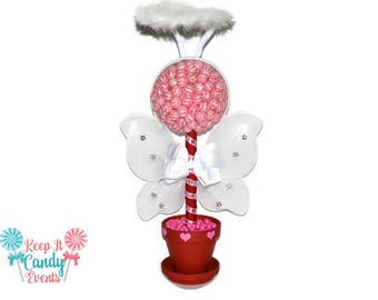 Cupid Topiary, Cupid Centerpiece, Valentines Day Lollipop Topiary, Red, Pink, Candy Topiary, Candy Buffet, Valentines Day, Valentines Cupid