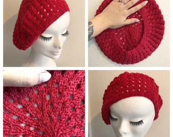 Lipstick Red Vintage inspired SPRING PINUP BERET in cottonblend