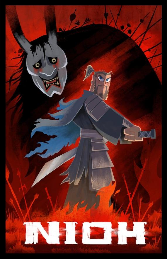 Nioh Samurai Jack Mashup Video Game Poster Art