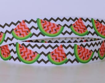 """Chevron Print with Watermelon Slices Printed Grosgrain Ribbon 1"""" Scrapbooking HairBows Parties DIY Projects CP010518"""