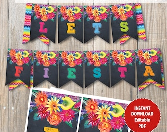 Editable Fiesta Party Banner / Fiesta Birthday banner / Editable PDF template.