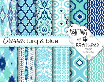 turq and blue ikat digital paper pack ikat design turquoise, blue, navy, scrapbooking papers summer ikat digital paper boho paper pack