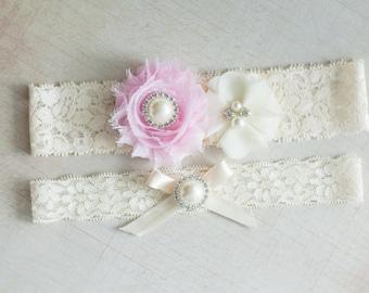 SALE Pink Bridal Garter Set, Wedding Garter Set, garter set, Rhinestone Lace Garter, Pearl Crystal Garter Set, toss garter, vintage