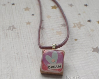 Heart Collage Scrabble Necklace, Handmade Scrabble Tile Pendant, Wood Pendant, Tiny Jewelry, Heart Lover Gift, Swarovski Bling, DREAM