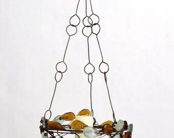 Garland Candle Chandelier - amber & light blue