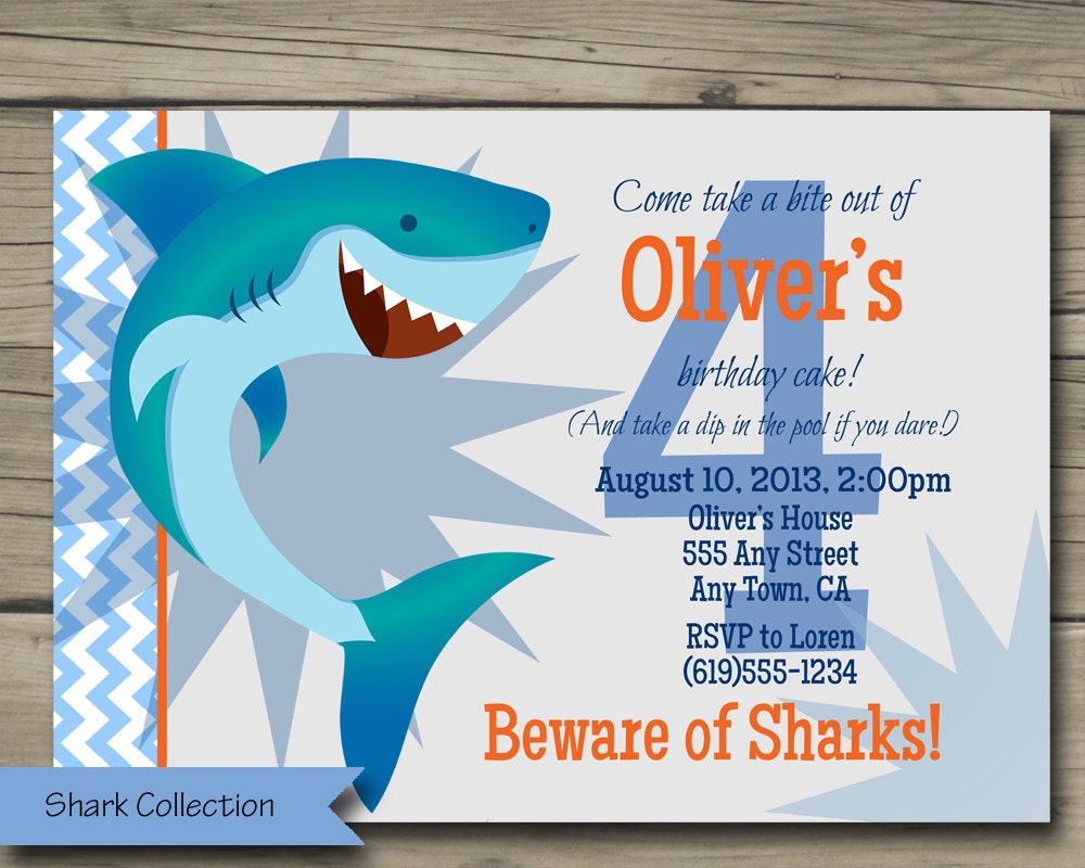 Well-known Shark Bite Birthday Party Invitation Printable Shark Birthday NH95