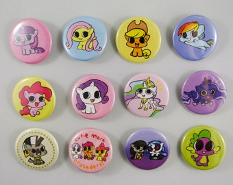 CUTE My Little Pony Button/Pins (13 Different Designs) My Little Pony: Friendship is Magic