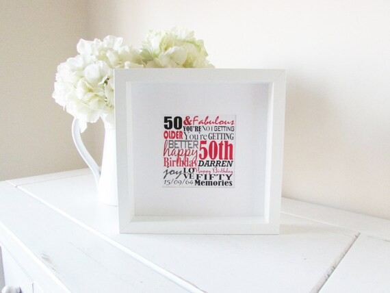 50th Birthday Print Personalised Framed Birthday Gift 50th