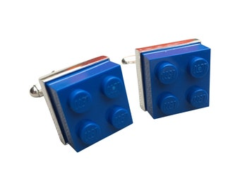 Cufflinks made using Blue Lego Brick with Free Cuff Link Box and Free Shipping