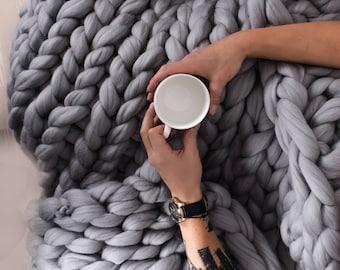 Giant blanket, Chunky blanket, Knitted blanket, boho bedroom, cozy bed, home decor, giant rug, giant yarn, arm knit, bohemian, Birthday gift