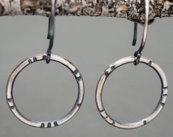 Sterling Silver Earrings. Organic Tribal Patterned Hoops. Polished or Rustic Oxidised Finish. Boho Minimalist Circle Design. Recycled Eco