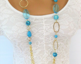 Blue and Gold Multi Strand Beaded Necklaces, Long Beaded Necklace, Beaded Necklace,Long Necklace, Beaded Necklaces,Multistrand Necklace,N906