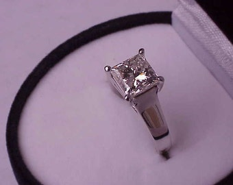 2.08ctw VS  Natural  Solitaire Princess Cut Diamond 14k White Gold  Ring comes with Appraisal Certificate for 34,000