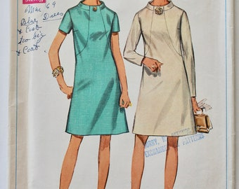 Vintage 1960s Womens A-Line Shift Roll-Neck Dress Sewing Pattern Size 16.5 Bust 39 Simplicity 7807