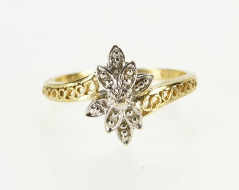 10K Diamond Floral Cluster Scroll Design Freeform Ring Size 6.75 Yellow Gold