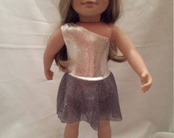 "Silver Sparkle Skating Dress for 18"" Dolls"