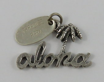 Aloha Palm Tree With Paradise Park Tag Sterling Silver Vintage Charm For Bracelet