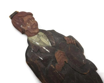 Folk Art Carved Wood Man - Character in Suit with Hat Vintage Home Decor